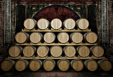 Barrels in a wine-cellar. Barrels in an old and rustic wine-cellar Stock Images