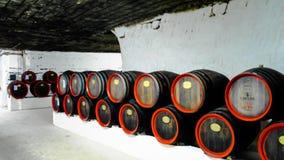 Barrels in the wine cellar of Cricova, Moldova stock images