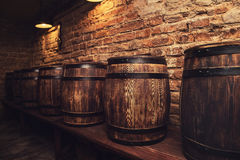 Barrels in the wine cellar. Homemade barrels in the wine cellar Royalty Free Stock Image
