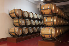 Barrels in the wine cellar photo - Shabo, Odessa region, Ukraine, June 20, 2017 Royalty Free Stock Photos