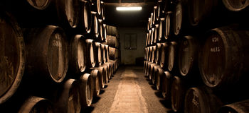 Barrels in the wine cellar, Porto, Portugal Royalty Free Stock Image