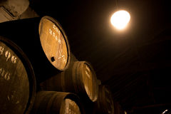 Barrels in the wine cellar, Porto, Portugal Royalty Free Stock Photography