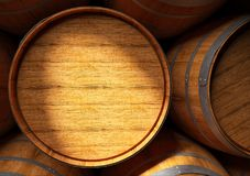 Barrels of wine and Pisco in cellar. 3D remderig of a close up of barrels of wine and Pisco in cellar Stock Image