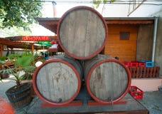Barrels of wine in Pomorie Bulgaria Stock Photos
