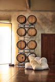 Barrels of wine and sugar Stock Images