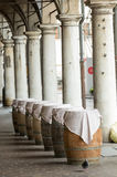 Barrels for wine used as table in Mantua Royalty Free Stock Image