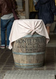 Barrels for wine used as table in Mantua Royalty Free Stock Photography