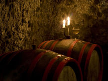 Barrels for wine in a wine cellar Stock Images