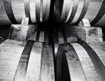 Barrels in a winery celar royalty free stock image