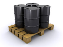 Barrels on a wooden pallet Stock Image
