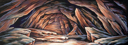 Barren cave. Theatre backdrop featuring a barren cave and mountainside Stock Photo