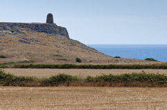Barren country. The arid environment on the southern coast of Italy Royalty Free Stock Image