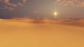 Barren desert lands at sunset. Barren dunes in sandy african desert at sunset with haze and sun disk on horizon. 3D illustration was done from my own 3D Royalty Free Stock Photo