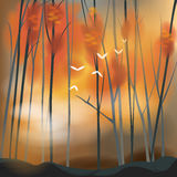Barren forest background in sunset scene. Barren forest background in autumn sunset scene, create by vector Royalty Free Stock Photos