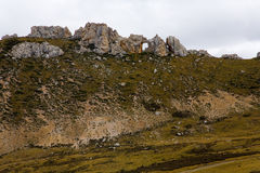Barren hill. Mountain top naked haze weather stone Royalty Free Stock Photos