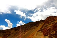 Hill barrenness. Barren hills and rock surface in leh royalty free stock image