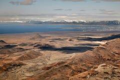 Barren Icelandic Landscape. Of Reykjanes peninsula with Reykjavik in the distance Stock Images