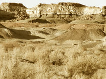 Barren Land. Badlands terrain in the southwest desert of New Mexico stock photography
