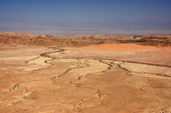 Barren landscape in Crater Ramon. Stock Photo