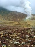Barren landscape of Mount Papandayan and its burning sulfur crater, Java Indonesia Royalty Free Stock Image
