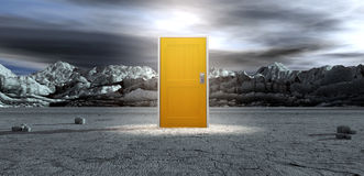 Barren Lanscape With Closed Yellow Door. An ominous barren landscape scene with a closed yellow door in the centre under an ethereal spotlight stock illustration