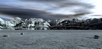 Barren Lanscape With Mountains Royalty Free Stock Photo
