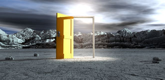 Barren Lanscape With Open Yellow Door Royalty Free Stock Photography