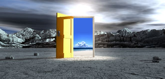 Barren Lanscape With Open Yellow Door. An ominous barren landscape scene with an open isolated yellow door in the centre under an ethereal spotlight showing a royalty free illustration