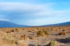Barren outdoor desert with mountains in background Royalty Free Stock Photos