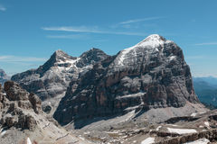 Barren Rocky Mountain with Glaciers in Italian Dolomites Alps in Royalty Free Stock Image