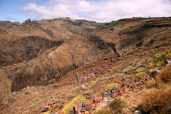 The barren wasteland of the island of La Gomera Royalty Free Stock Photo