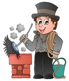 Barrendero feliz de la chimenea Fotografía de archivo libre de regalías