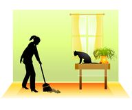 Barrer el suelo con el gato Fotografía de archivo libre de regalías