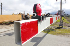 Barrera del cruce ferroviario Fotografía de archivo
