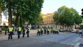 Barrera Westminster Inglaterra de la policía de Londres imagen de archivo libre de regalías