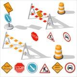 Barreras del camino y sistema detallado isométrico del icono de las muestras libre illustration