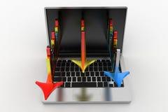 Barres analogiques colorées élégantes projetant de l'ordinateur portable Images stock