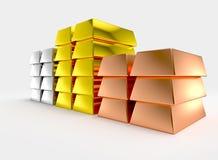 Barres argentées d'en cuivre géant d'or empilées Photos stock