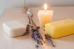 Barres colorées de savon avec la décoration Photos libres de droits