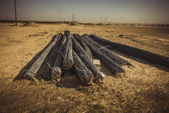 Barres d'acier dans le désert Photos stock