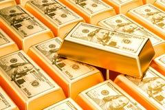 Barres d'or avec le fond des dollars des Etats-Unis, rendu 3D Illustration de Vecteur