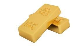 Barres d'or d'isolement sur le fond blanc Image stock