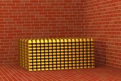 Barres d'or dans une chambre forte Image stock