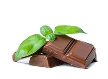 Barres de chocolat avec le basilic Photo libre de droits