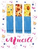 Barres de granola et de muesli dans l'emballage bleu avec différents écrous et fruits Lettrage rose de muesli Illustrati tiré par illustration libre de droits