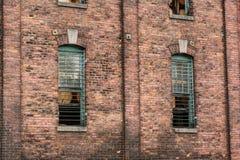 Barres de mur de briques et de fer images stock