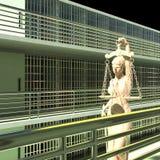 Barres de prison et Madame du rendu de la justice 3d Photos libres de droits