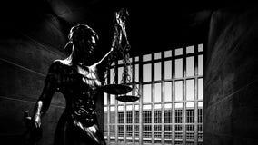 Barres de prison et un rendu du couloir 3d Photos libres de droits