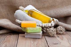 Barres faites main colorées de savon Images libres de droits