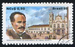Barreto and Recife Law School and Pedro II Square. BRAZIL - CIRCA 1989: stamp printed by Brazil, shows  Barreto and Recife Law School, Pedro II Square, circa Stock Photo